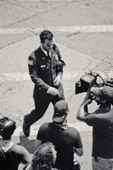 """Justin Theroux filming """"The Leftovers"""" (HBO series) outside our door in Hastings."""