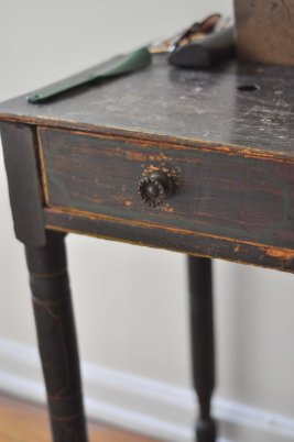 Detail of side table from yardsale ($10)- over 100 years old, so we left it as-is.