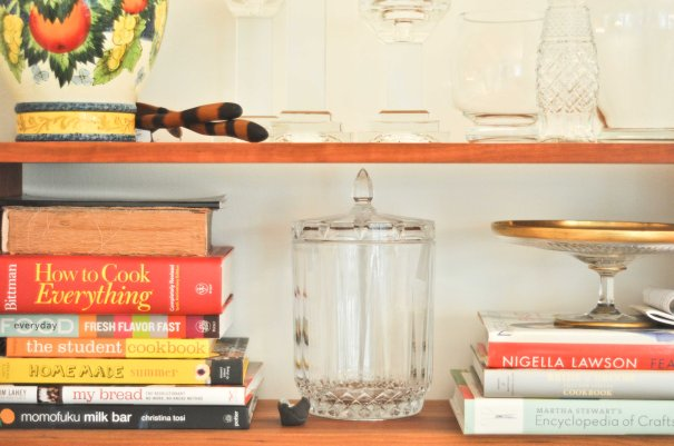 Detail of bookcase in dining room. (Yes, that Martha Stewart book is SIGNED by the legend herself.)